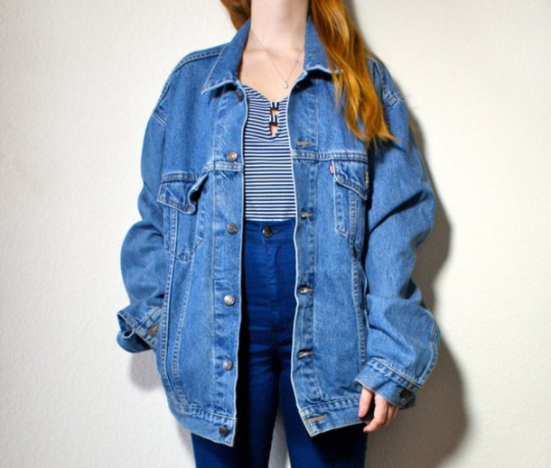 3fa9b44a420 soft grunge oversized denim jacket oversized jacket high waisted jeans  striped top blue jeans 90s style