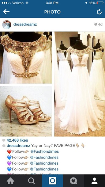 dress prom dress dressdreamz white and gold dress white gold beaded beaded beautiful white top white beaded dress Gold beaded dress girlll