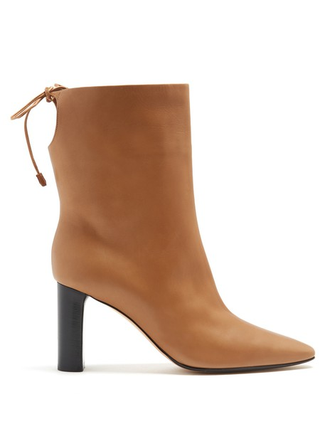 The Row leather ankle boots ankle boots leather light beige shoes