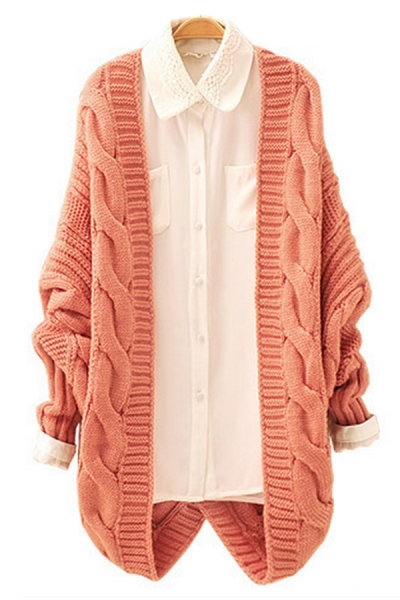 Twisted Pattern Batwing Sleeve Cardigan - OASAP.com