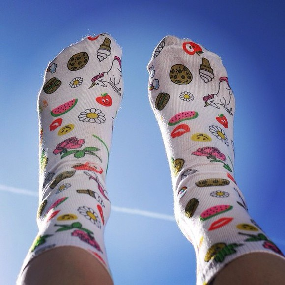 hamburger food socks kawaii ice cream unicorn watermelon print daisy emoji print dessert cookie