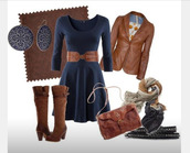 shoes,heel,high heels,boots,high heels boots,buckle boots,brown boots,knee high boots,dress,short dress,cute dress,navy,navy dress,scoop neck,earrings,belt waist belt,bagh,bag,purse,coat,jacket,leather jacket,scarf,long sleeves,clothes,outfit,belt