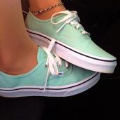 shoes,vans,mint,mint green shoes,turquoise,sneakers