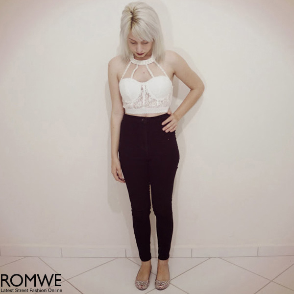 ROMWE | Neck Strap Embellished White Lace Bandeau, The Latest Street Fashion
