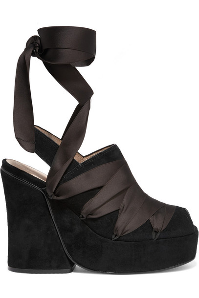 014074b841d Ellery Despina Satin-Trimmed Suede Wedge Sandals in black - Wheretoget