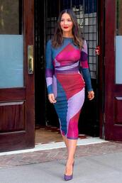 dress,bodycon dress,pumps,olivia munn,midi dress,colorful,spring dress,spring outfits,shoes