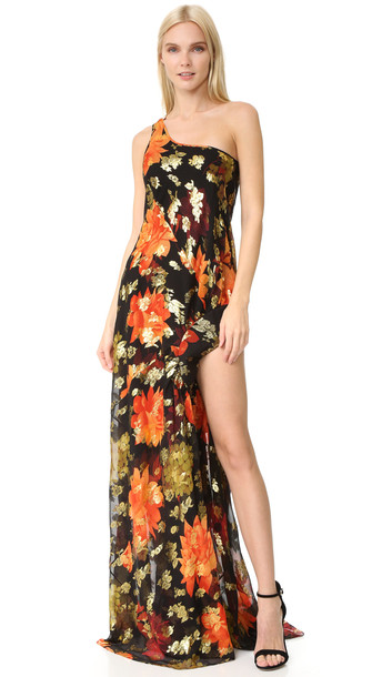 Haney dress one shoulder dress gold print black red