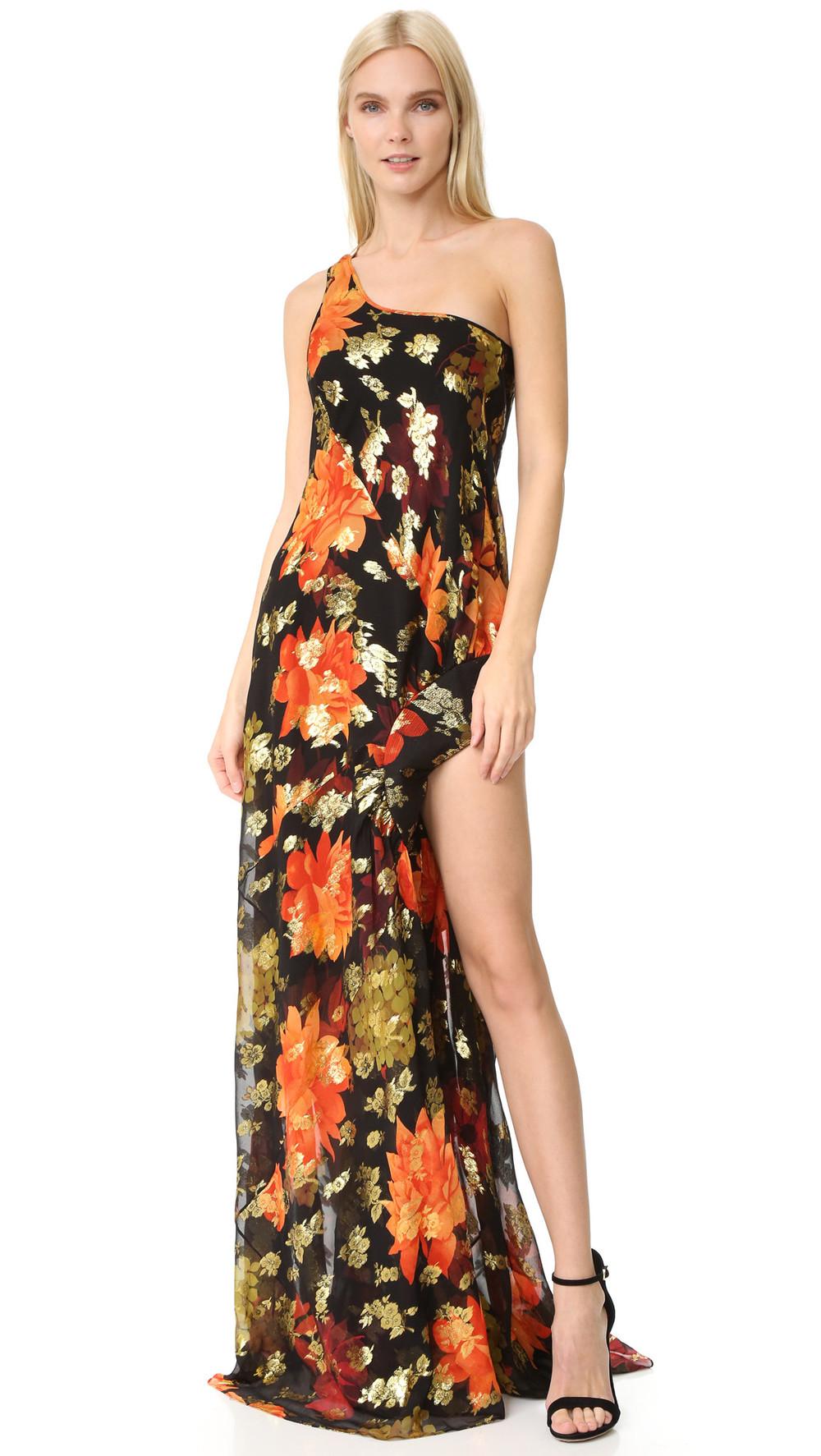 dress one shoulder dress gold print black red