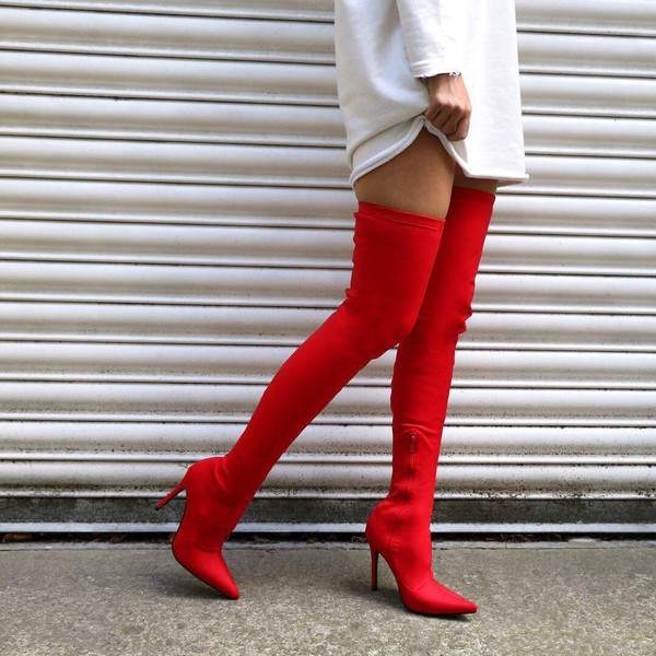 c2621c961496 Dazzle Sock Fit Pointed Toe Over The Knee Boots in Red Stretch