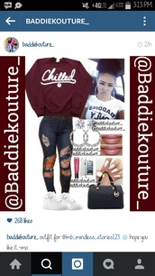 shirt,burgundy,baddiekouture_,outfit,outfit idea,bag,jewels,jeans,instagram,chill,burgundy sweater,ripped jeans,hoop earrings,michael kors bag,nike shoes