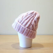 hat,hatsandotherstories,pink,cableknit,beanie,blush pink,knitted hat,wool hat,pink knit