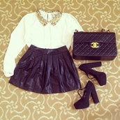 skirt,clothes,leather,shirt,beautiful bags,shoes,blouse,bag