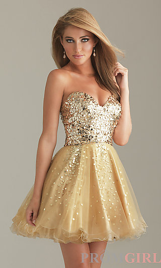 Short Gold Party Dress, Gold Sequin Short Prom Dresses- PromGirl