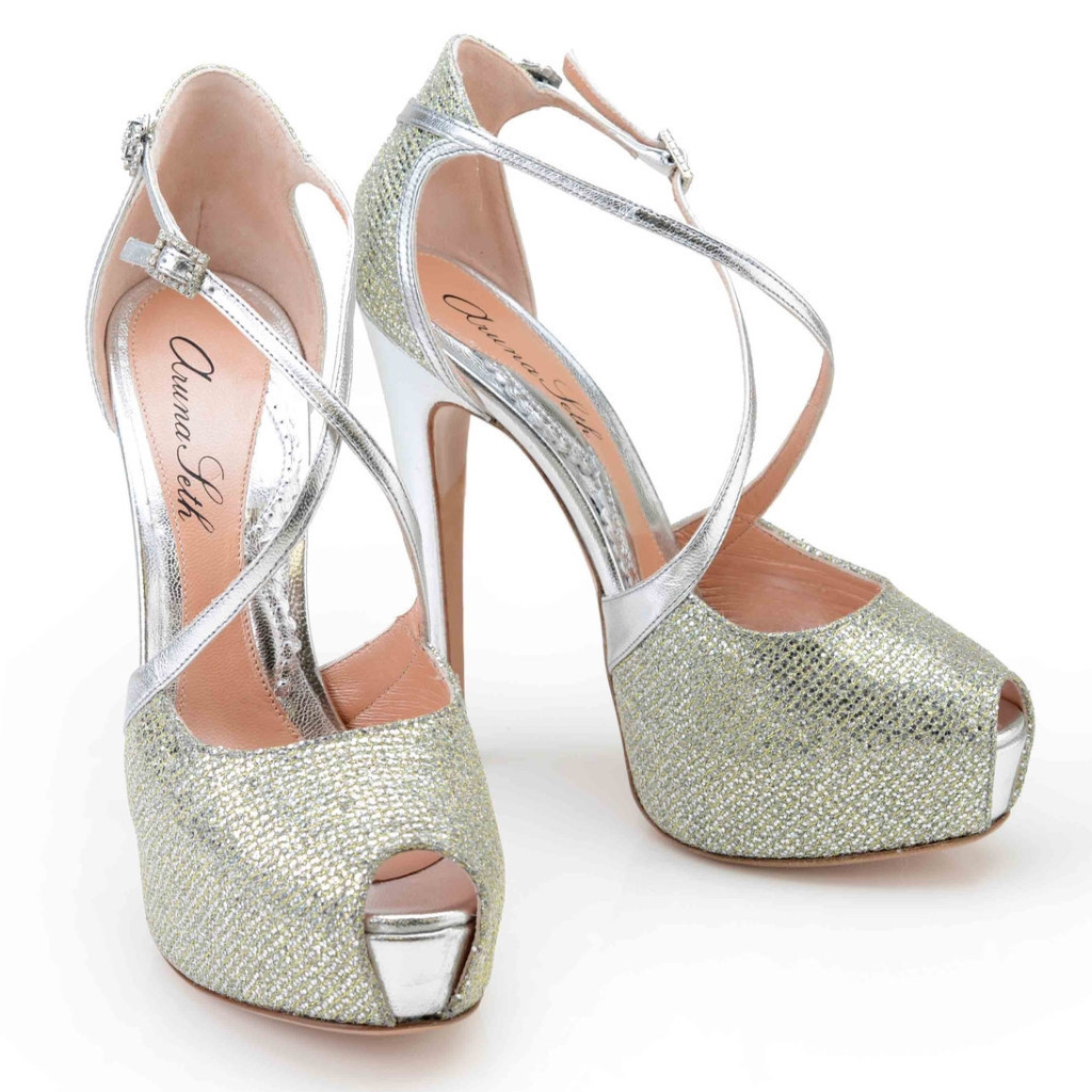 Venus 140mm heel in siver & gold glitter mesh shoes