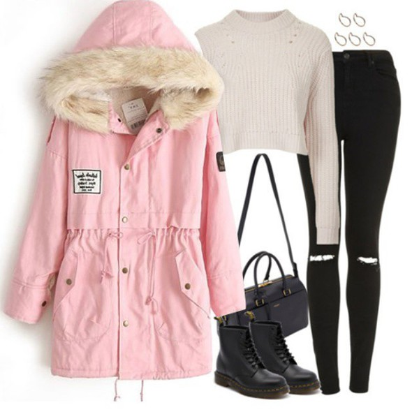 Pink Faux Fur Hooded Zipper Embellished Fleece Inside Military ...