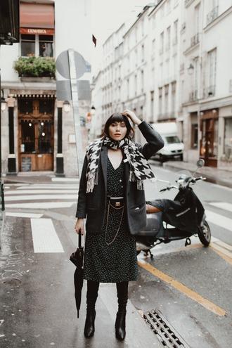 natalie off duty blogger belt bag jacket dress shoes scarf winter outfits blazer boots midi dress