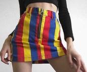 skirt,rainbow striped,rainbow