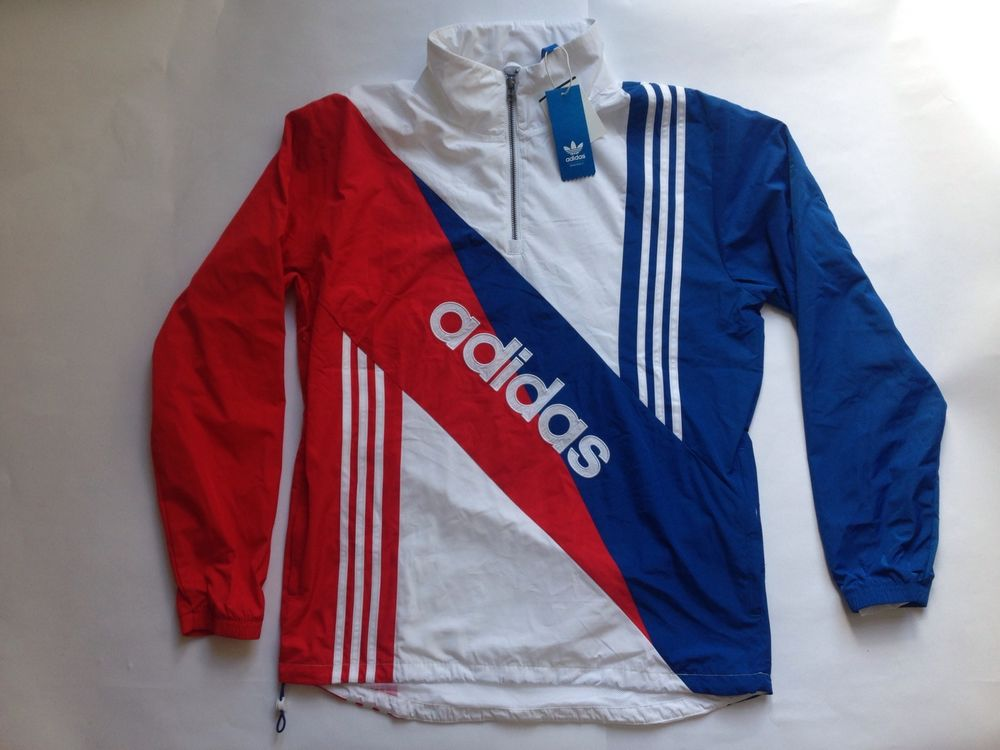 Adidas Linear Windbreaker Retro Running Track Jacket Red