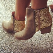 shoes,glitter boots,boots,glitter,gold sequins,ankle boots,sparkle,booties,gold glitter shoes,boots sparkles,brown booties,gold cowgirls boots,heels,gold