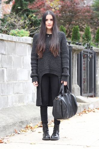 dress like jess blogger high low oversized sweater charcoal knitwear knitted sweater all saints