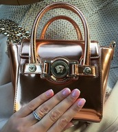 bag,rose gold,buckle bag,small bag