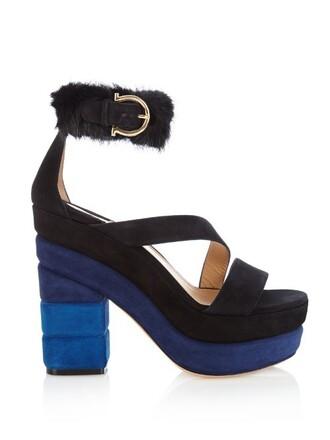 fur sandals suede blue shoes