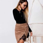 skirt,shanghai trends,ss18,lace,suede,suede skirt,lace skirt,ootd