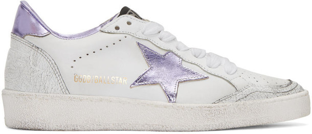 Golden goose ball sneakers white purple shoes