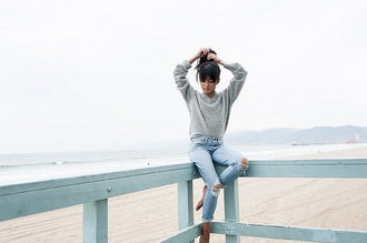 lust for life blogger jeans shorts ripped jeans grey sweater