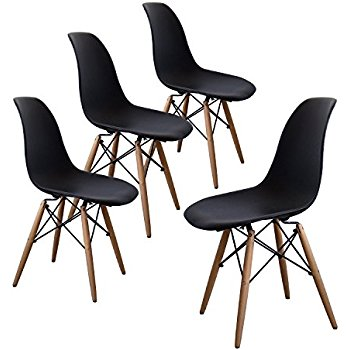 Amazon.com - Eames Style Chair by La Valley - Set Of 2 - Mid Century Modern Eames Molded Shell Chair with Dowel Wood Eiffel Legs - for Dining Room, Kitchen, Bedroom, Lounge - Easy-Assemble & Clean - Black - Chairs