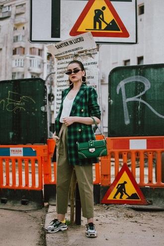 jacket blazer tartan tartan blazer check blazer green blazer pants khaki pants sneakers bag sunglasses
