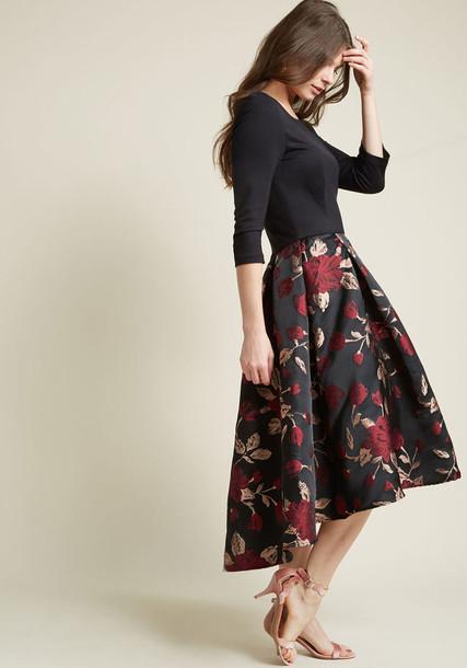 1617 dress evening dress rose jacquard floral knit black