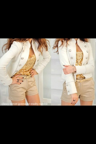 shorts gold sequins style t-shirt blouse