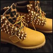 shoes,gold studs,leopard print,brown spikes leopard print,boots,timberlands,leopard timberlands,studded,women,cheetah timberlands,spiked shoes,spiked timberlands,studded timberland boots,timbs w cheetah and spikes
