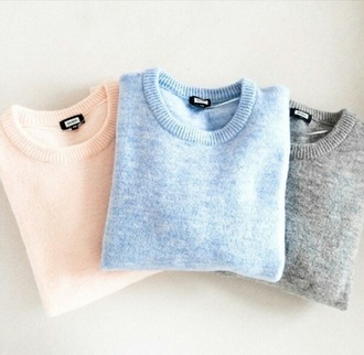 sweater pastel pull pink blue grey