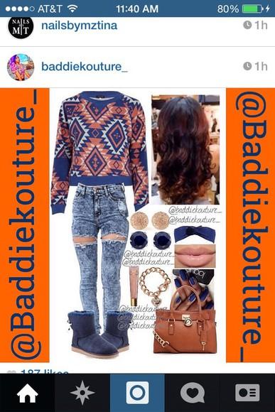 cute aztec tribal pattern aztec sweater aztec print crewneck pullover sweatshirt couture wardrobe ootd tribal print