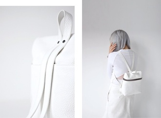 bag white backpack minimalist backpack leather backpack