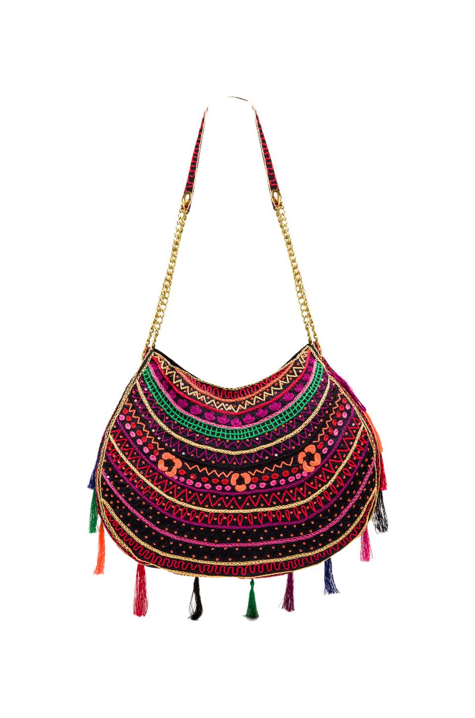 Pia Pauro Embroidered Bag With Tassels in Navy   REVOLVE