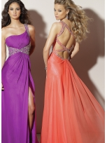 Buy Stunning One-shoulder Rhinestone Floor Length Chiffon Prom Dress  under 200-SinoAnt.com