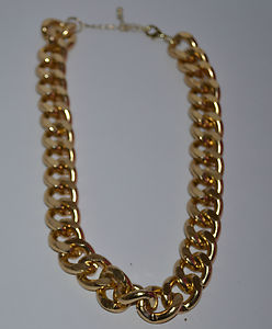 River island celebrity style chunky gold statement curb chain necklace 18 inches