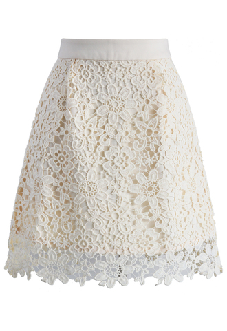 skirt delicate flower crochet skirt in beige chicwish beige crochet floral