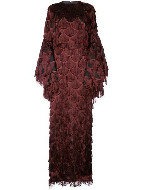 gown women silk red dress