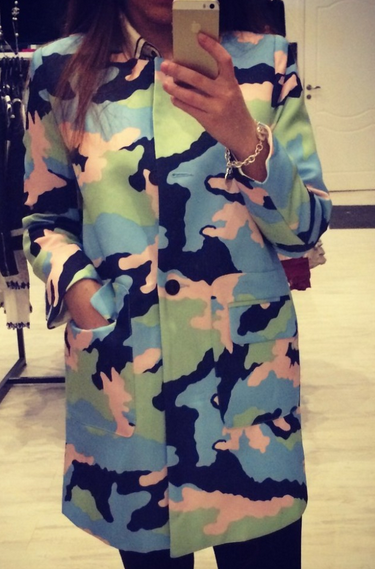 Camouflage army color colourfull candy long jacket coat button casual