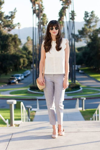 jeans and a teacup blogger top pants shoes bag sunglasses jewels fall outfits white top round bag shoulder bag grey pants