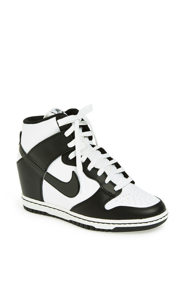 Nike Dunk Sky Hi White White Black Womens High Sneaker Wedge Heel Sz 8 | eBay