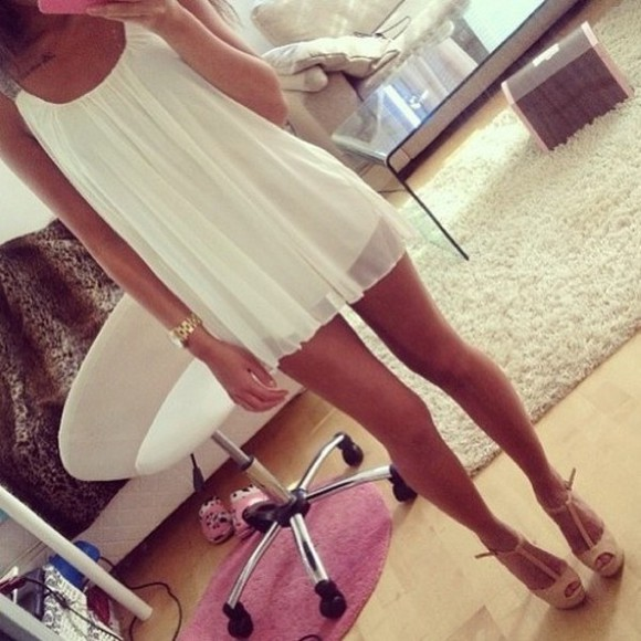 dress white flowy gold straps white dress shoes pink girly summer dress summer lace short dress classy cute
