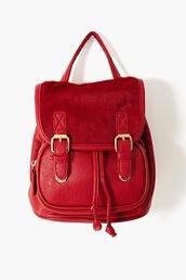 bag,backpack,fur,red,blood red,red backpack