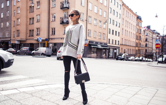 kenza blogger sweater jeans shoes bag sunglasses