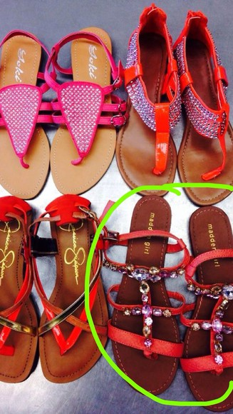 shoes neon orange coral salmon cute sandals shoes studs