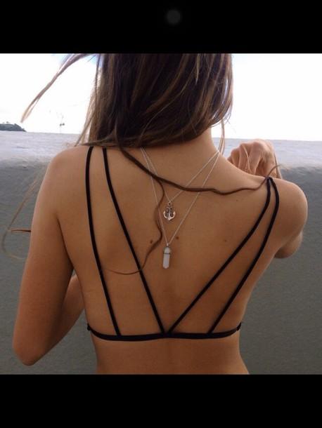 jewels top jewelry necklace rose quartz crystal quartz layered swimwear bikini bikini top black beautiful cute bralette